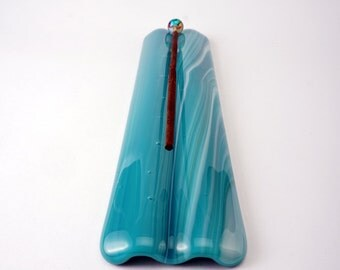 Teal swirls long glass incense burner