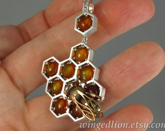 SWEETER THAN HONEY silver & bronze honeycomb and bee pendant with Amber and white sapphires