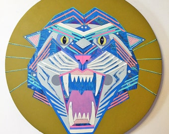 Blue Tiger - Original Round Acrylic  Art Painting
