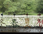 """Kanji Ornaments, Stained Glass, Set of 4, Hand Painted, Home Decor, Garden Decor, Window Hanging, Wall Hanging, Mobile, """"The Four Seasons"""""""