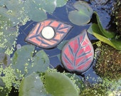 Autumn Leaves, Floating Mosaic Stained Glass Sculpture, Water Garden Art, Outdoor Rooms, Fall Decor, Home Decor, Pond Decor, Garden Bed Art