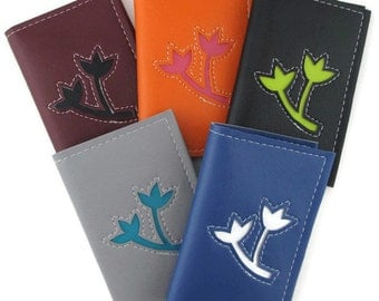 Business Card Holder Small Wallet with Vine Flower Ivy Design in CUSTOM Colors by Tender Roni *Choose Your Own Colors*