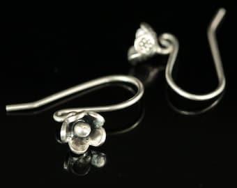 6KH-014 thai karen hill tribe hanamade silver black & white pair wild flower earring