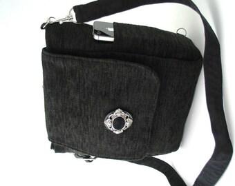 Black crossbody bag converts to backpack, fabric handbag, black shoulder bag, messenger bag, zipper bag , fit IPAD, ready to ship