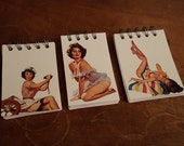 3 Retro Pin Up Spiral Notepads Set Journal Lined Paper Classic Fun Small
