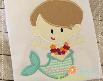 Mermaid Boy Applique Design 4x4, 5x7, 6x10, 8x8