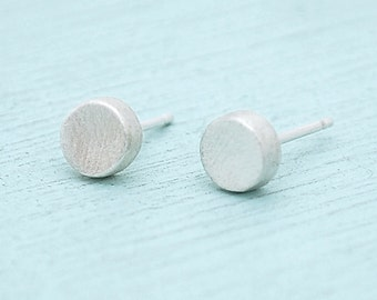 Circle Studs, sterling silver earrings, gold earrings, eco-friendly. Handcrafted by Chocolate and Steel