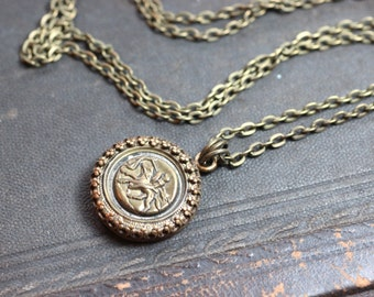 Victorian Button Necklace Metal Equestrian Picture Button Necklace Antique Button Antiqued Brass Chain