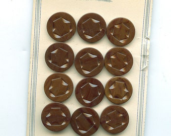 Set of (12) Matching Carved Art Deco BROWN Plastic Dress Buttons on Original Card 7/8 inch size 1453