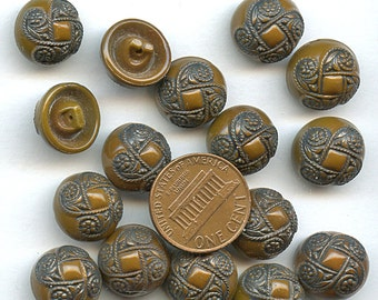 Set of (16) Matching Vintage Painted BROWN Art Deco glass buttons 1/2 inch size 1655