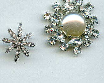 Vintage Rhinestone Pendants (2) Bridal Connectors Jewelry Piece Pearl Millinery Component Focal Point Prongset 2224