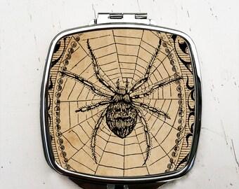 Vintage Spider Pocket Mirror  Halloween Compact Mirror
