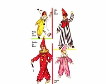 SALE 1960s Boys and Girls Clown Costumes Simplicity 6198 Vintage Sewing Pattern Size 8 - 10 UNCUT