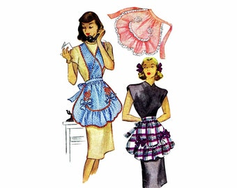 1940s Half Apron McCall 1279 Vintage Sewing Pattern Ruffled Hostess Apron with Embroidery Transfer