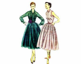 1950s Front Tucked Full Skirt Dress Simplicity 3848 Vintage Sewing Pattern Shirtwaist Dress Size 14 Bust 32