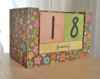 Perpetual Wooden Block Calendar - Peach Turquoise and Lime Wild Flowers on Brown