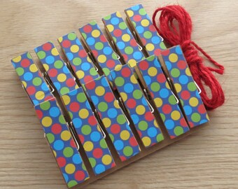 Circus Party Polka Dots Clips w Twine for Photo Display - Chunky Little Clothespin Set of 12