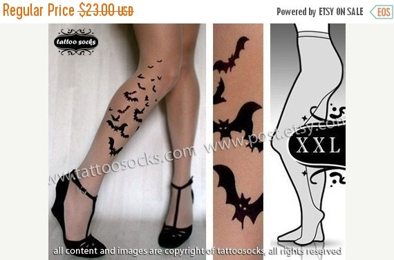10%OffEndsOct24 plus size xxl sexy BATS tattoo tights / stockings/ full length / pantyhose / nylons LIGHT MOCHA