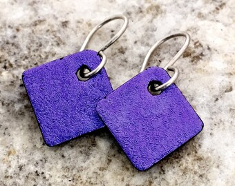 SMALL Purple Dichroic Glass Earrings Simple Little Fused Glass & Sterling Silver