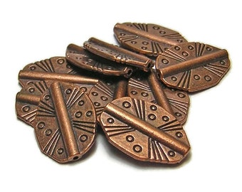 """Antique Copper Beads - Pewter Beads - Metal Beads - Copper Spacers - Spacer Beads - 8"""" Strand (5729)"""