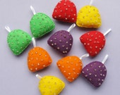 10 Beaded Felt Gumdrop Ornaments, colourful felt Christmas decorations