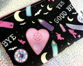 "Cutie Coven Zip Pouch 6"" by 4.5"" Acrylicana Cotton (Large Print)"