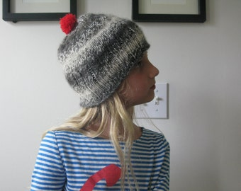 hand knit black and white hat