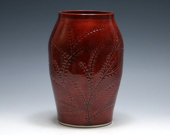 Rhubarb Red Vase with Carved Branches