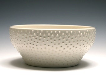White Bowl with Raised Dots