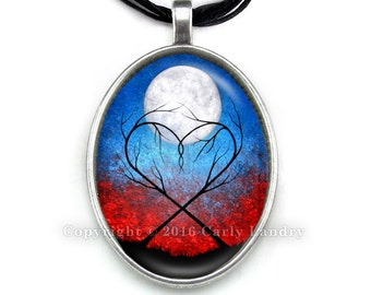 Heart Trees & Moon Red Blue Black Pendant Necklace Handmade Jewelry Art Gothic Ribbon Organza Silver Cabochon Abstract Low Brow Artwork Gift
