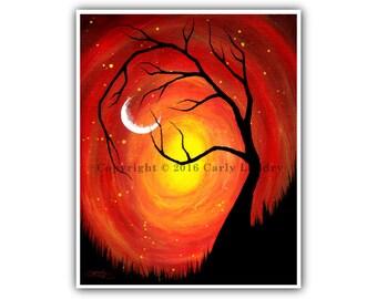 Tree & Crescent Moon Art Print - Holding On - Minimalist Modern Contemporary Fine Artwork Vibrant Color Style Sizes: 8x10 11x14 16x20 20x24