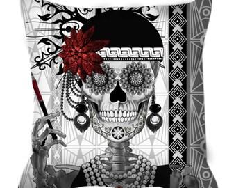 Flapper Girl Sugar Skull Throw Pillow - Day of The Dead Home Decor - Mrs Gloria Vanderbone - Black and White Art Deco Skull Pillow