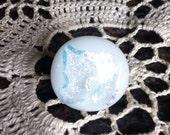 White Dichroic Glass Tie Tack Lapel Pin