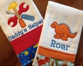 Personalized Set Boy Burp Cloths Tools Dinosaur