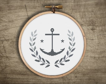modern cross stitch pattern ++ retro anchor wreath leaf nautical ++ pdf INsTAnT DOwNLoAD ++ diy hipster ++ handmade design