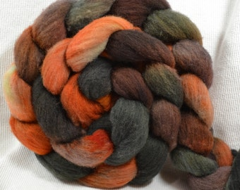 SALE 20% OFF  Yarn Hollow Hand Dyed Polypay Roving Midnight Harvest Multi Color 4 ounces