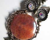 Owl Pendant with Dragon Skin Fire Agate