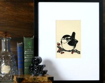 Sweet Carolina Wren - 5x5 letterpress linocut
