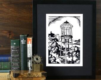Empty Nest - 6x9 Linoleum print