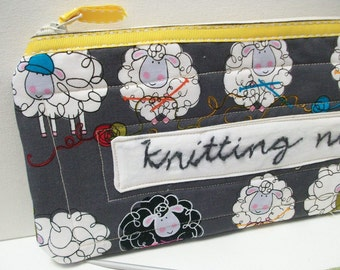 Quilted Knitting Organizer Case, black, Knitting Needle Case, Quilted, Project Bag, sheep lamb theme, craft organizer, knitting organizer
