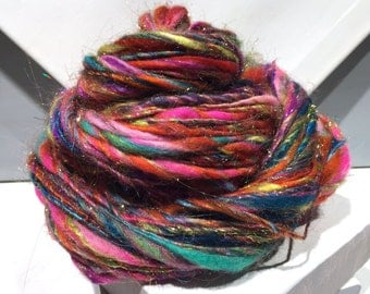 "Thick & Thin Yarn, Bulky Art Yarn, ""Indian Wedding Dress"" PHAT FIBER teal, turquoise, orange, fuschia, gold, chartreuse"
