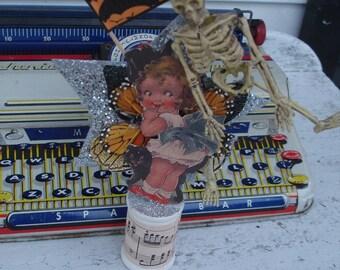 Halloween*Little girl with black cat*Big blue sash*SkeletonDazzling star**Old vintage spool*Vintage style image*So Darling