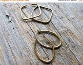40% Off EVERYTHING Vintage Geometric Hoop Earrings - Dark Brass Square Hoops - Shiny Brass Oval Hoops  - Vintage Brass Hoop Earrings