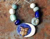 Wise Moon / Ceramic Moon and Owl Pendant and Bead Set