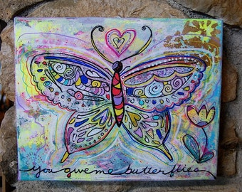 You Give Me Butterflies / Mixed Media Painting