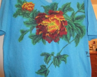 Hand-painted T-Shirt (peony flowers)