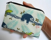 Sloth Days Little Zipper Pouch Coin Purse ECO Friendly Padded NEW