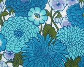 "vintage 60s 70s flower power fabric in cobalt blue and turquoise 46"" wide"
