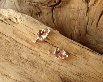 Petite Leaf Studs - Rose Gold