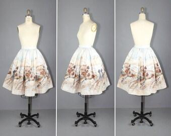 novelty skirt / 1950s / millworth / GO WEST vintage novelty print skirt
